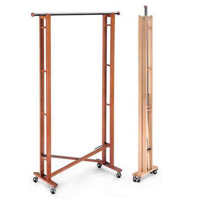 Вешалка деревянная напольная для одежды на колесиках